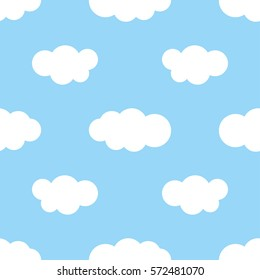 Blue sky with white clouds, seamless pattern
