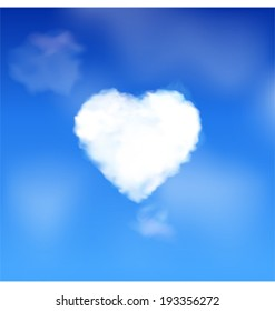 Blue sky with white fluffy heart cloud