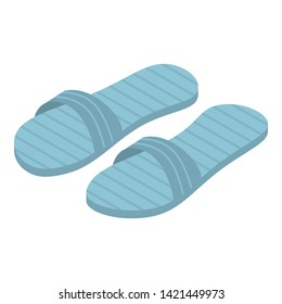 Blue slippers icon. Isometric of blue slippers vector icon for web design isolated on white background