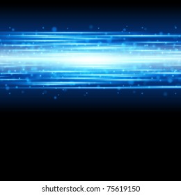 Blue smooth light lines with lens effect vector background. Eps 10.