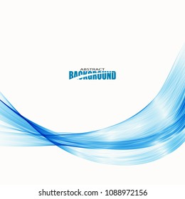 Blue smooth wave on white background.