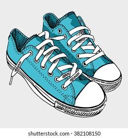 Blue sneaker on light gray background.