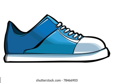 Blue sneaker or trainer. Isolated on white