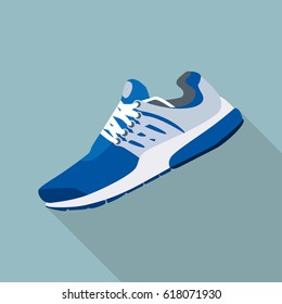 blue sneakers flat style vector illustration