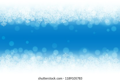 Blue snow background. Snowflakes with particles and bokeh. Holiday winter theme. Blurred backdrop. Christmas template. Vector illustration.