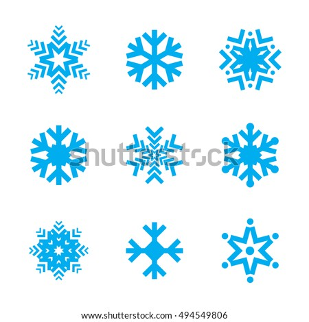 Blue Snow Flake Winter Vector Icon Stock Vector Royalty Free