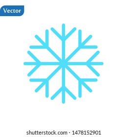 Blue Snowflake flat icon. Snow pictogram. Winter symbol. Vector illustration, EPS10.