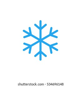 Blue Snowflake flat icon. Snow pictogram. Winter symbol. Vector illustration, EPS10.