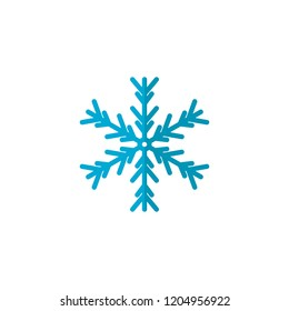 Blue Snowflake flat icon, vector sign, colorful pictogram isolated on white. Snow Winter symbol, logo illustration. Flat style design