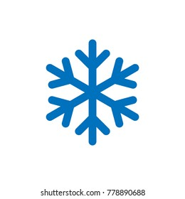 Blue Snowflake icon isolated on white background. Snow flake silhouette. Symbol of snow, holiday, cold weather, frost. Winter design element Vector illustration