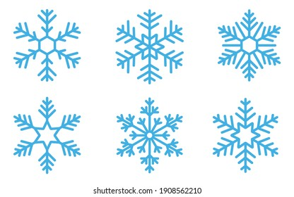Blue snowflake icons collection isolated on white background.  New year design elements, frozen symbol, Vector illustration