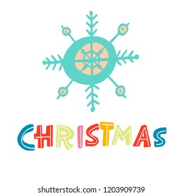 blue snowflake on white background. the word Christmas-colorful letters