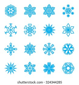Blue snowflakes icons isolated on a white background. Vector illustration