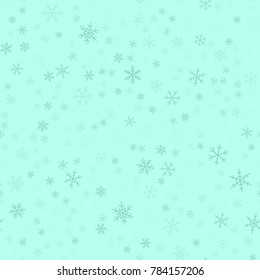 Blue snowflakes seamless pattern on turquoise Christmas background.