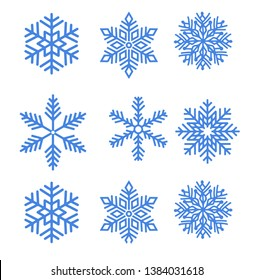 Blue snowflakes  set new year vector design
