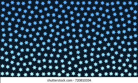 blue snowflakes. blue stars. Star of David. aqua black background pattern abstract. turquoise stipple effect. vector illustration