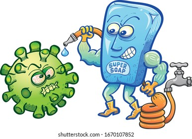 Blue soap acting as a strong brave superhero faces a threatening green virus character with a lot of courage and a hose connected to a tap. It's ready to spread water. The soap wears gloves and boots
