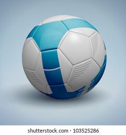 Blue soccer ball. Vector Illustration