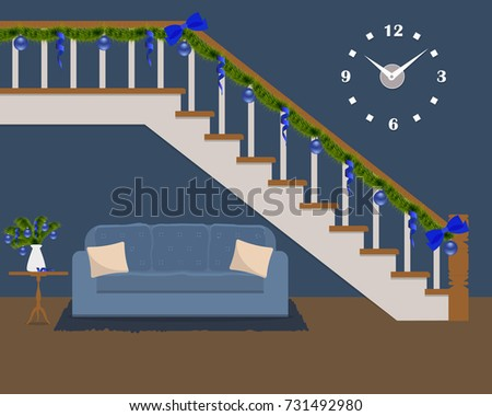 Blue Sofa Pillows Located Under Stairs Stock Vector Royalty Free