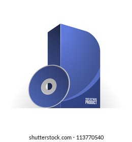 Blue Software Box With Rounded Corners. Ready For Your Design. Product Packing Vector EPS10