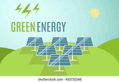 Blue Solar Panels banner. Modern Alternative Eco Green Energy. Vector illustration.