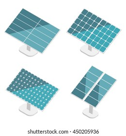 Blue Solar Panels set. Flat isometric. Modern Alternative Eco Green Energy. Vector illustration.