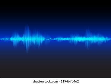 Blue sound waves glow light, stock vector