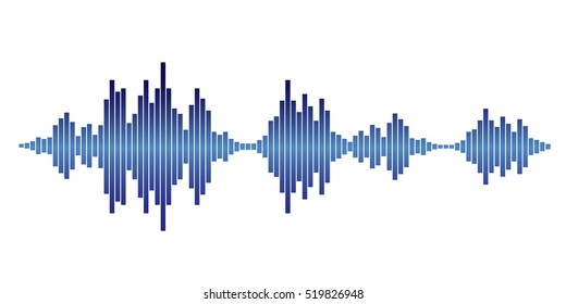 Blue sound waves for party isolated on white background. Vector Illustration