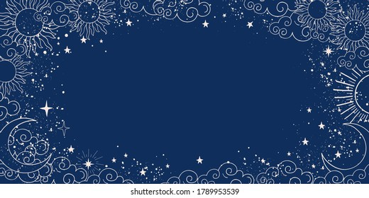 Blue space background with sun, moon and stars with place for text. Magic banner with copy space. Blank for astrology, fortune telling, boho parties. Vector illustration.