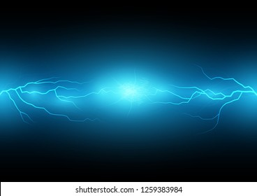 Blue  sparkling lightning bolt technology with electric effect abstract layout with surrounded by lightnings luxurious pattern. Vector illustration eps10