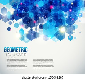 Blue and sparkling page layout for your presentation. Abstract geometric background with glitter. Vector image.