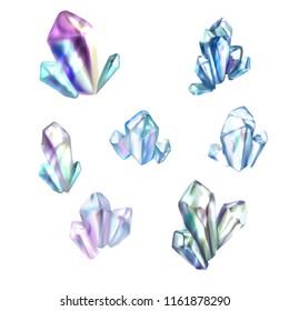 blue sparkling transparent crystals for game vector set