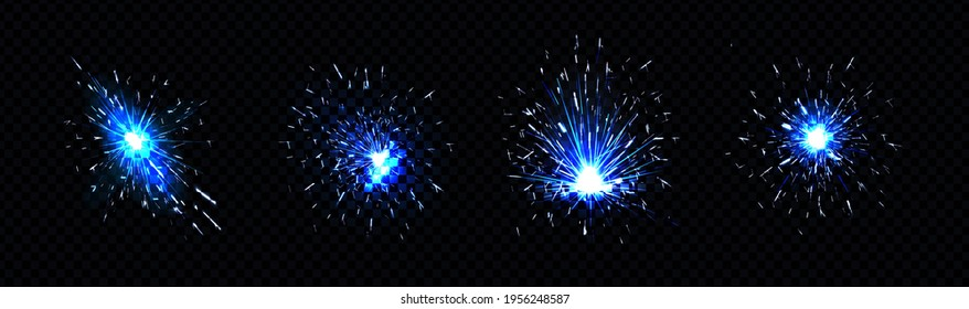 Blue sparks of welding, firework petard flare, sparklers or iron cutting works. Bright glowing light flashes with particles, electric circular saw isolated on black background, Realistic 3d vector set