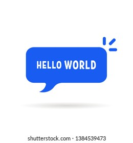 blue speech bubble with hello world. simple flat cartoon style trend modern minimal logotype graphic design element isolated on white