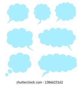 blue speech bubbles set, different cloud shape blank chat box isolated on white background. vector illustration