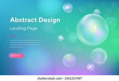Blue Sphere bubble soap Abstract Motion Landing Page Background. Futuristic Digital Minimal Orb Gradient Pattern Template. Circle Creative Wallpaper Backdrop Website Web Page. 3d Cartoon