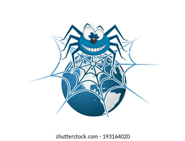 Blue spider on the planet