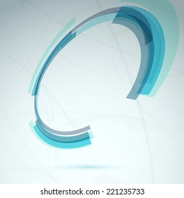 Blue spin round element abstract tech background - circle frame flying in the air. Vector illustration
