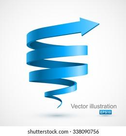 Blue spiral 3D.