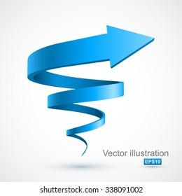 Blue spiral arrow 3D.