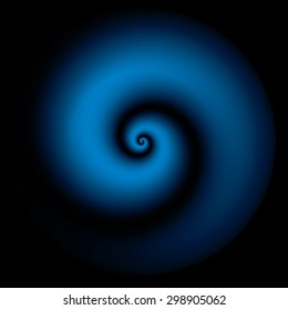 Blue spiral vector background.