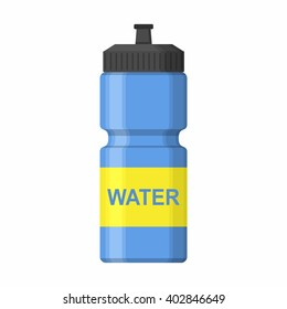Blue Sport icon bottle for water icon in flat style isolated on white background. Sipper vector