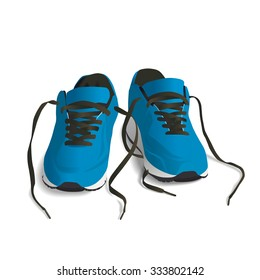 Blue Sport shoes. Running shoe, sneaker isolated on white background