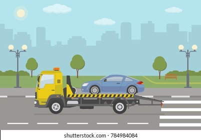 Blue sports car on tow truck, on city background. Vector illustration.