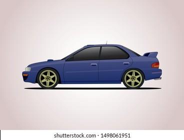 Blue sports car. Side view. Subaru Impreza.