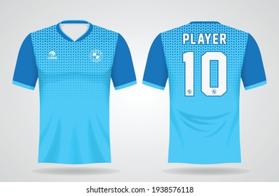 blue sports jersey template for team uniforms and Soccer t shirt design