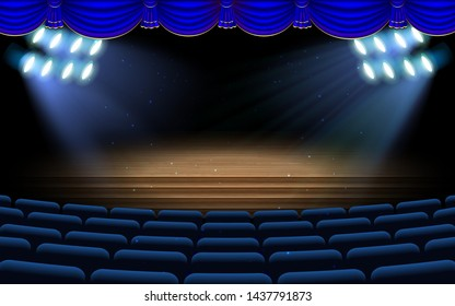 blue spotlight on the stage with blue chairs in the hall
