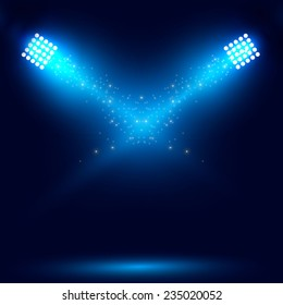 Blue spotlight. Vector illustration