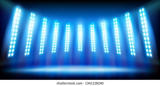 Blue spotlights on the dark background. Illuminated stage on the stadium. Vector illustration.