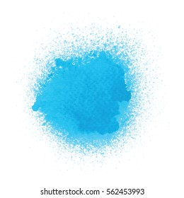 Blue spray paint on white background.